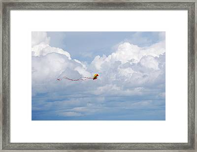 Beach Kite Framed Print by Peter  McIntosh