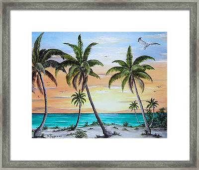 Beach Of Palms Framed Print by Riley Geddings