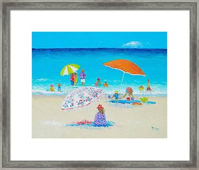 Beach Painting - Blazing Hot  Framed Print by Jan Matson
