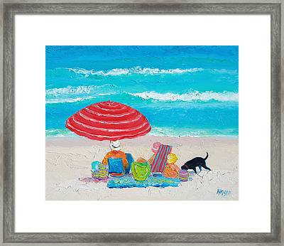 Beach Painting - One Summer Framed Print by Jan Matson