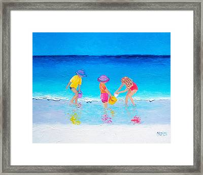 Beach Painting - Water Play  Framed Print by Jan Matson