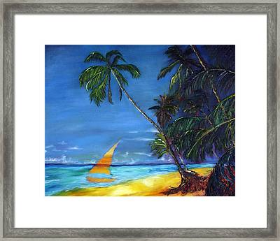 Beach Palm Sailboat Framed Print by Gregory Allen Page