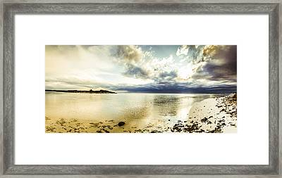 Beach Panorama Of A Sunrise Over The Sea Framed Print by Jorgo Photography - Wall Art Gallery