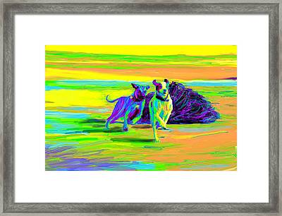 Beach Race Framed Print by Karen Derrico