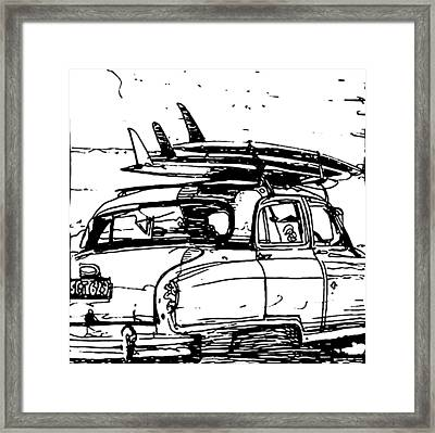 Beach Rider B And W Framed Print by Andoni Galdeano
