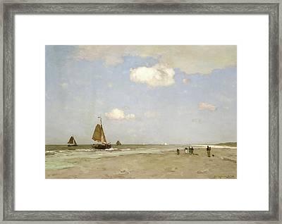 Beach Scene Framed Print by Johannes Hendrik Weissenbruch