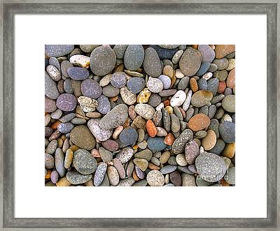 Beach Stones And Pebbles Framed Print by Sophie De Roumanie