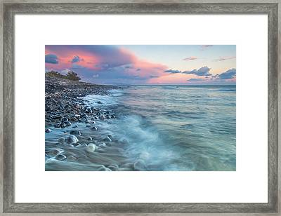 Beach Sunset At Perivolos Framed Print by Anthony Mitchell