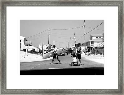 Beach Traffic Framed Print by Toni Hopper
