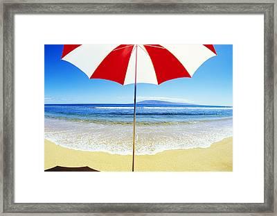 Beach Umbrella Framed Print by Carl Shaneff - Printscapes