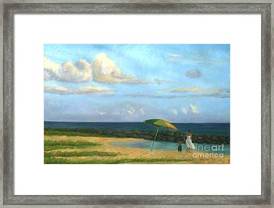 Beach Umbrella Framed Print by Jane  Simonson