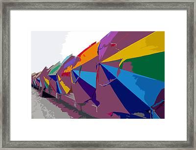 Beach Umbrella Row Framed Print by David Lee Thompson