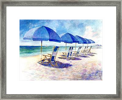 Beach Umbrellas Framed Print by Andrew King