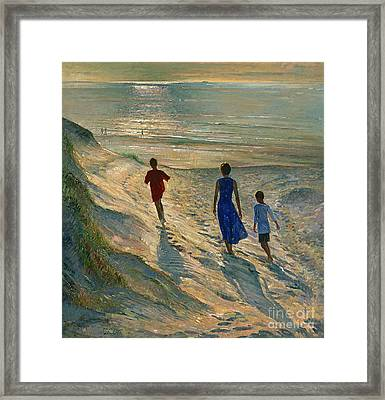Beach Walk Framed Print by Timothy Easton