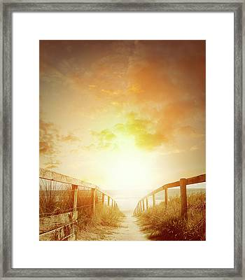 Beach Walkway 2 Framed Print by Les Cunliffe