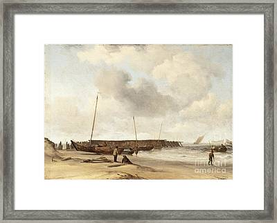 Beach With A Weyschuit Pulled Up On Shore Framed Print by Celestial Images