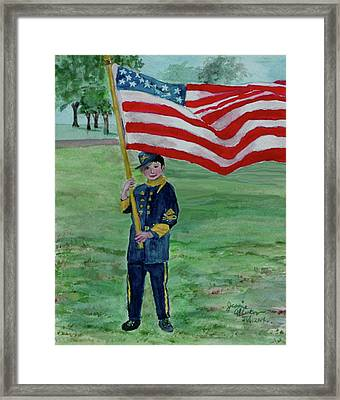 Beaming With American Pride Framed Print by Jeannie Allerton