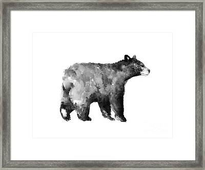 Bear Watercolor Drawing Poster Framed Print by Joanna Szmerdt