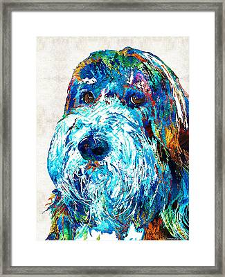 Bearded Collie Art 2 - Dog Portrait By Sharon Cummings Framed Print by Sharon Cummings
