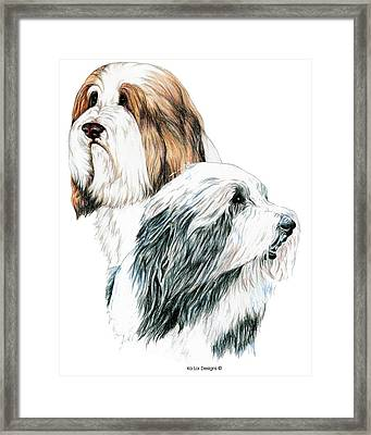 Bearded Collies Framed Print by Kathleen Sepulveda