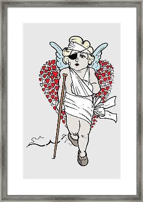 Beaten Up Cupid Art - Funny Love Broken Heart Art Framed Print by Wall Art Prints