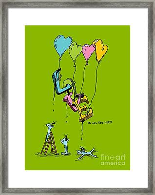 Beatles  Love Is All You Need  Psychedelic Illustration Framed Print by Paul Telling
