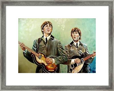 Beatles Paul And John Framed Print by Leland Castro