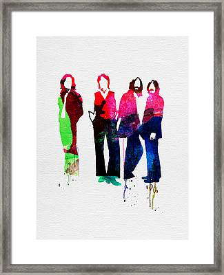 Beatles Watercolor Framed Print by Naxart Studio