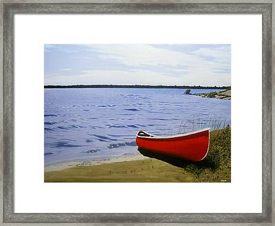 Beaultiful Red Canoe Framed Print by Kenneth M  Kirsch