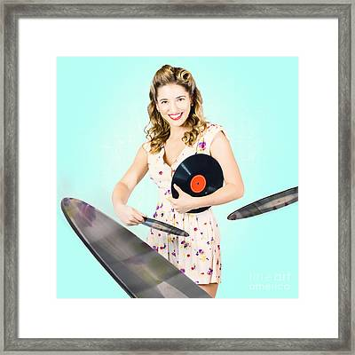 Beautiful 70s Dj Pinup Girl With Record Music Disc Framed Print by Jorgo Photography - Wall Art Gallery