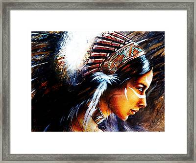 Beautiful Airbrush Painting Of A Young Indian Woman Wearing  Framed Print by Jozef Klopacka