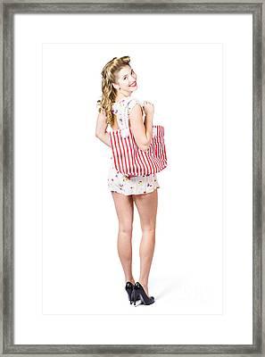 Beautiful Blond Female Shopper Holding Shop Bag Framed Print by Jorgo Photography - Wall Art Gallery