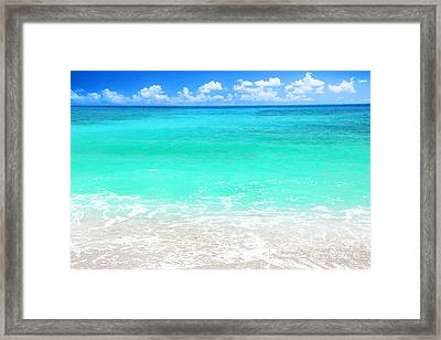 Beautiful Blue Sea Beach Framed Print by Anna Omelchenko