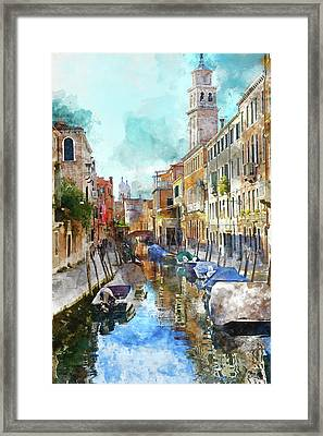 Beautiful Boats In Venice, Italy Framed Print by Brandon Bourdages