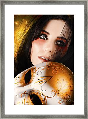 Beautiful Female Performer Face. Perfect Makeup Framed Print by Jorgo Photography - Wall Art Gallery