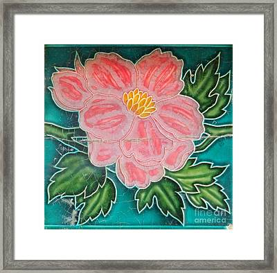 Beautiful Old Ceramic Tile Framed Print by Yali Shi