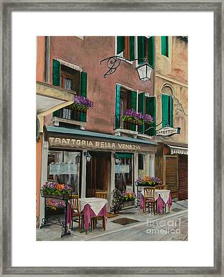 Beautiful Restaurant In Venice Framed Print by Charlotte Blanchard