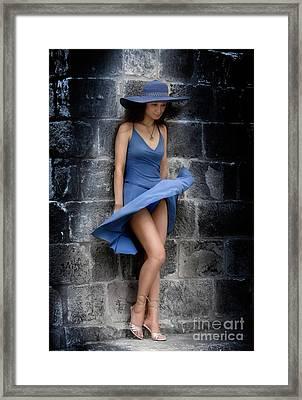 Beautiful Romantic Woman Standing Near A Stone Wall Framed Print by Oleksiy Maksymenko