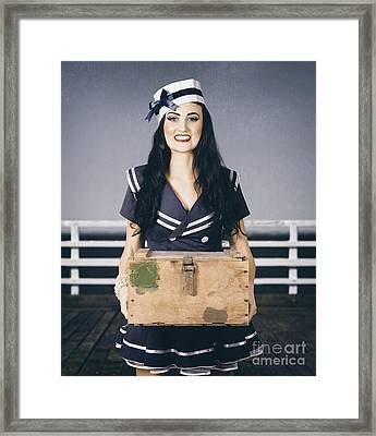 Beautiful Sailor Girl Holding Military Ammo Box Framed Print by Jorgo Photography - Wall Art Gallery