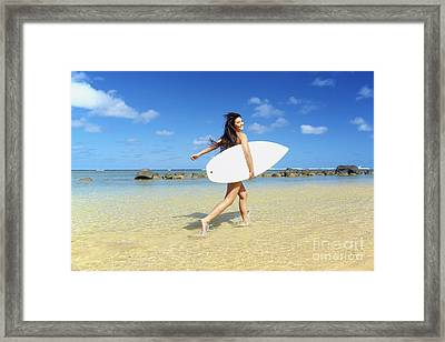 Beautiful Surfer Girl Framed Print by Kicka Witte