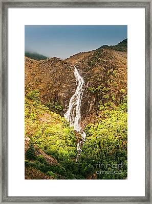 Beautiful Waterfall In Sunlight Framed Print by Jorgo Photography - Wall Art Gallery