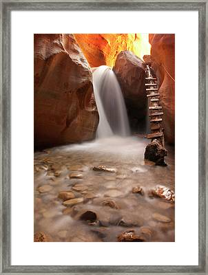 Beautiful Waterfall With Pebbles On Foreground Framed Print by photography by Jenna Van Valen