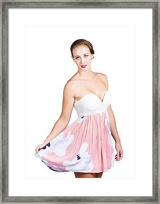 Beautiful Woman In Pink Floral Dress Framed Print by Jorgo Photography - Wall Art Gallery