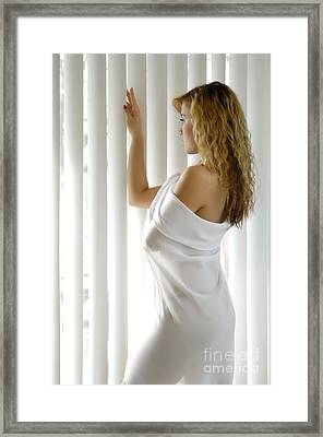 Beautiful Woman Near A Window Framed Print by Oleksiy Maksymenko