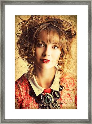 Beautiful Woman With Classic Hairstyle And Makeup Framed Print by Jorgo Photography - Wall Art Gallery