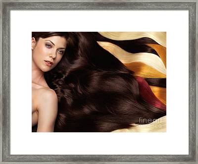 Beautiful Woman With Hair Extensions Framed Print by Oleksiy Maksymenko