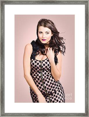 Beautiful Young Brunette Girl Styling Luxury Dress Framed Print by Jorgo Photography - Wall Art Gallery