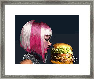 Beauty And The Burger Framed Print by Moxxy Simmons