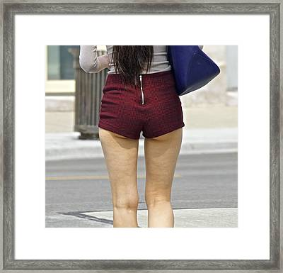 Plaid Short Shorts Now Drop The P Framed Print by Robert Frank Gabriel