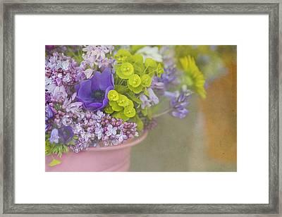 Beauty In A Bucket Framed Print by Rebecca Cozart